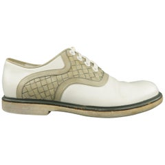 BOTTEGA VENETA Size 8 White & Gray Two Toned Intrecciato Leather Lace Up Shoes