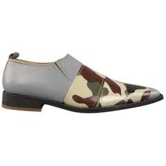 COMME des GARCONS HOMME PLUS Size 6 Grey Camo Strip Leather Loafers Shoes