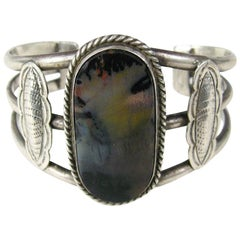 Scenic Navajo petrified wood Sterling Silver 3 wire Cuff Bracelet