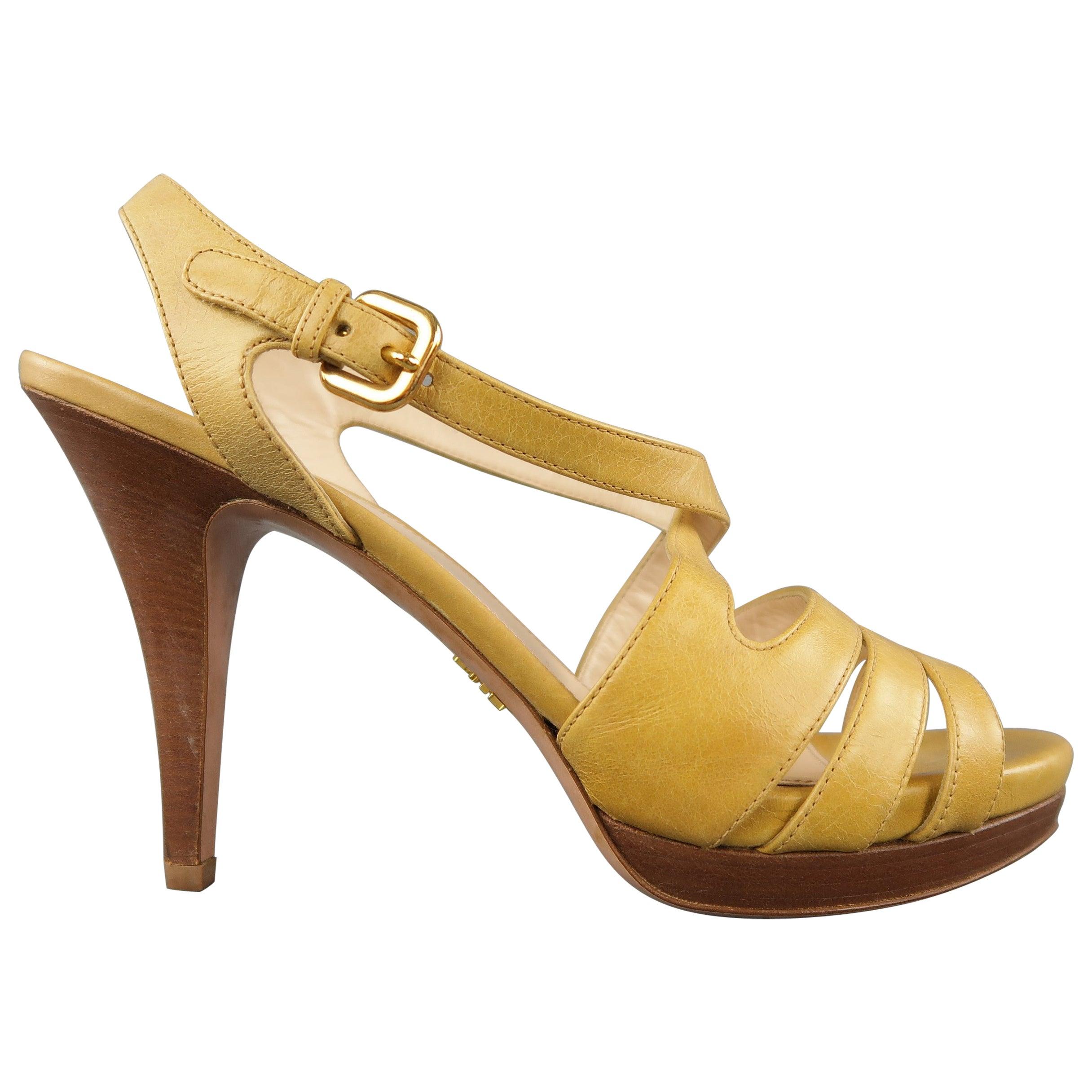 ff5a89217b75 PRADA Size 10 Beige Leather Ankle Strap Platform Heels Sandals For Sale at  1stdibs