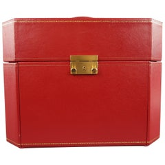 Vintage CARTIER Red Watch & Jewelry Storage Box with Drawer Compartments