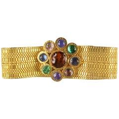 Vintage CHANEL Gold Gripoix Rhinestone Byzantine Flower Metal Belt