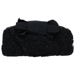Dolce and Gabbana Black Lace Bow Evening Bag