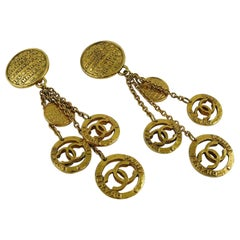 Chanel Vintage Gold Toned Coin Charms Dangling Earrings