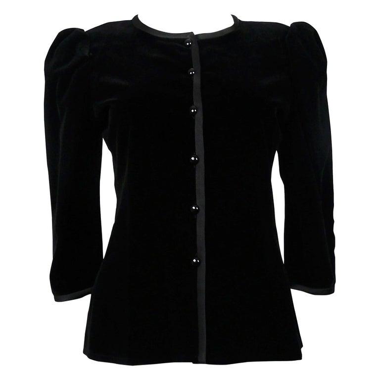 660654223f0 Yves Saint Laurent YSL Vintage Classic Black Velvet Jacket For Sale ...