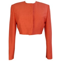 Gianni Versace Bolero Jacket Silk Linen Orange Vintage, 1990s