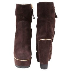 SERGIO ROSSI Compensated Boots in Brown Suede Size 36.5