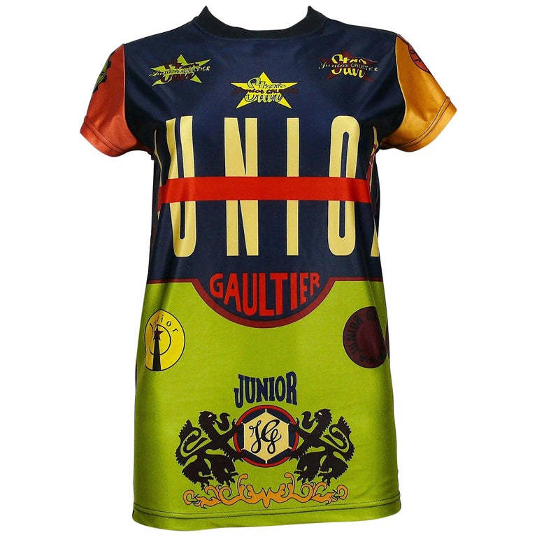 Jean Paul Gaultier Vintage Junior Iconic Color Block T-Shirt Size S For Sale