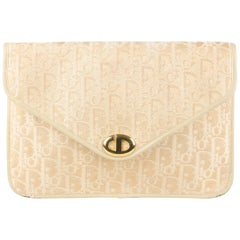 Christian Dior Vintage Ivory Logo Diorissimo Tapestry Canvas Clutch Bag