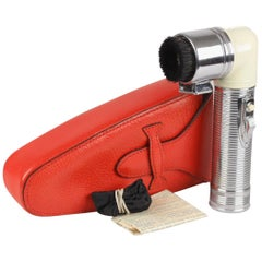 Gucci Vintage Rare Hand Rand Vacuum Clothes Brush with Red Leather Case