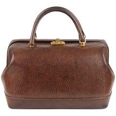 Gucci Vintage Brown Leather Train Case Handbag Doctor Bag Beauty