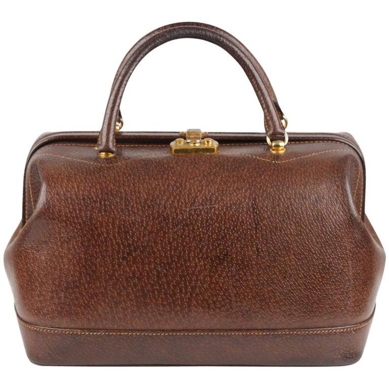 3a40d005f15 Gucci Vintage Brown Leather Train Case Handbag Doctor Bag Beauty For Sale