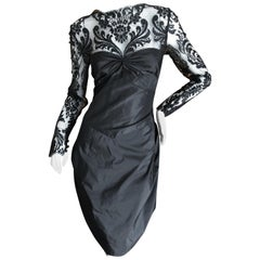 Bill Blass for Saks Fifth Avenue 80's Lace Accented Black Silk Cocktail Dress