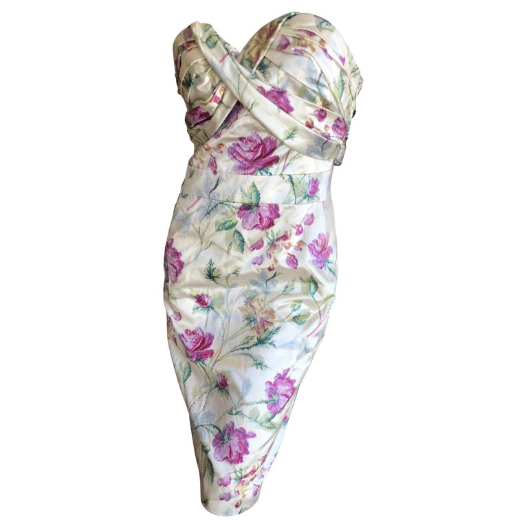 Christian Dior by John Galliano Strapless Corseted Silk Floral Cocktail Dress  For Sale