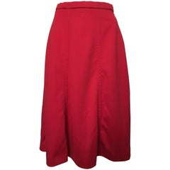 Givenchy 1970s Red Long A-Line Skirt Size 6.