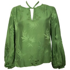 Malcolm Starr 1970s Green Silk Long Sleeve Blouse Size 6/8.