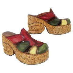 1970's Patchwork Leather Cork Platform Shoes
