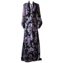 Giambattista Valli Pussy-Bow Floral-Print Silk Georgette Gown