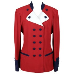 1990s Moschino Cheap & Chic Red Blue & White Military or Riding Style Blazer