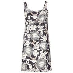 Chanel Lion Camellia Logo Sleeveless Mini Shift Dress