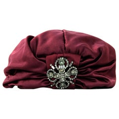 Jennifer Behr Burgundy Sateen/Crystal Sophia Turban Hat rt. $698