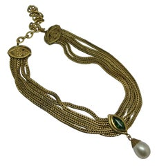 Chanel green gripoix poured glass pearl drop pendant chain necklace