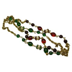 Chanel green red gripoix poured glass flower capped faux pearl chain necklace