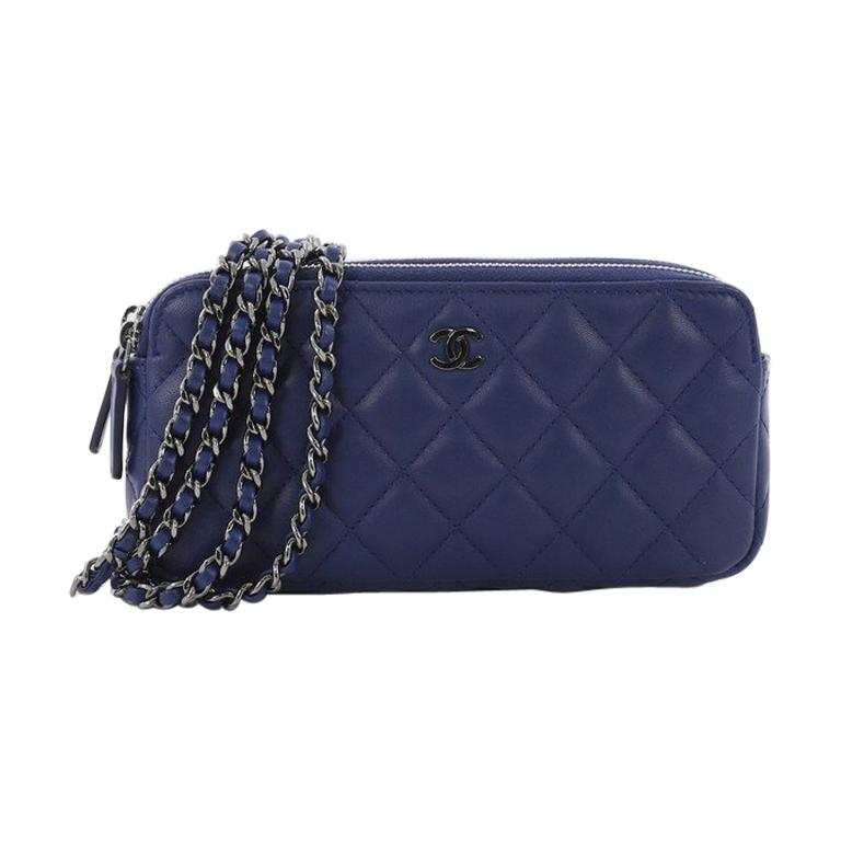 Chanel Double Zip Clutch With Chain Quilted Lambskin At