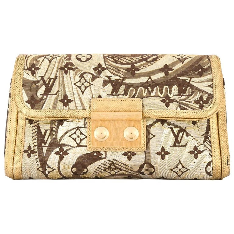 4a73cee5c425 Louis Vuitton Monogram Gold Brown Silk Leather Gold Evening Clutch Flap Bag  For Sale