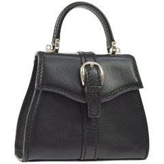 Gucci Black Leather Mini Silver Buckle Kelly Style Top Handle Satchel Flap Bag