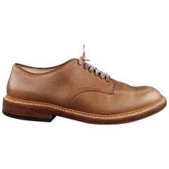 ALDEN Size 10.5 Tan Contrast Stitch Leather Lace Up Shoes