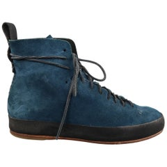 FEIT Size 10 Blue Solid Suede Ankle Boots