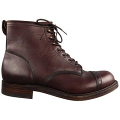 RRL by RALPH LAUREN Size 11.5 Burgundy Solid Leather Boots