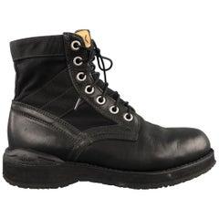 VISVIM 7 Hole 73' Folk Veggie Size 9 Black Solid Leather Boots