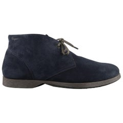 SALVATORE FERRAGAMO Size 11 Navy Solid Suede Ankle Chukka Boots