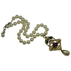 Chanel green gripoix poured glass pearl byzantine filigree pendant necklace