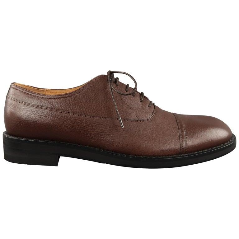 a305653d2bd MAISON MARTIN MARGIELA Size 12 Brown Solid Leather Lace Up Shoes