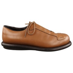 PRADA Size 8.5 Tan Solid Leather Lace Up Shoes