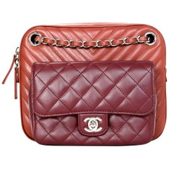 dcc504beda71 Chanel  18 Burgundy Brick Chevron Quilted Camera Crossbody Bag w Receipt.  Christian Dior Pink Leather Mini Be Dior Flap ...