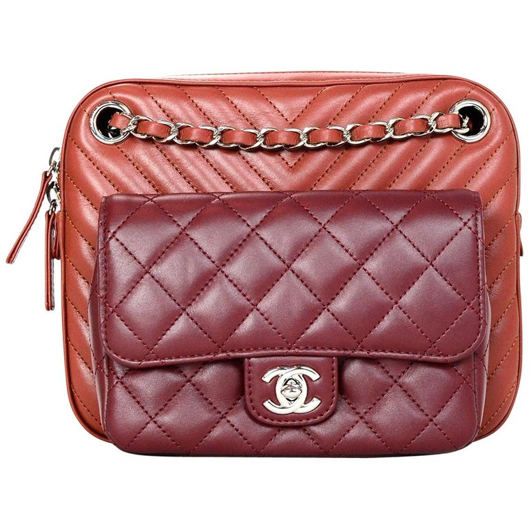 09e9f80c1043 Chanel  18 Burgundy Brick Chevron Quilted Camera Crossbody Bag w Receipt  For Sale