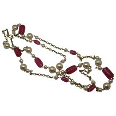 Chanel signed red poured glass faux pearl long chain necklace
