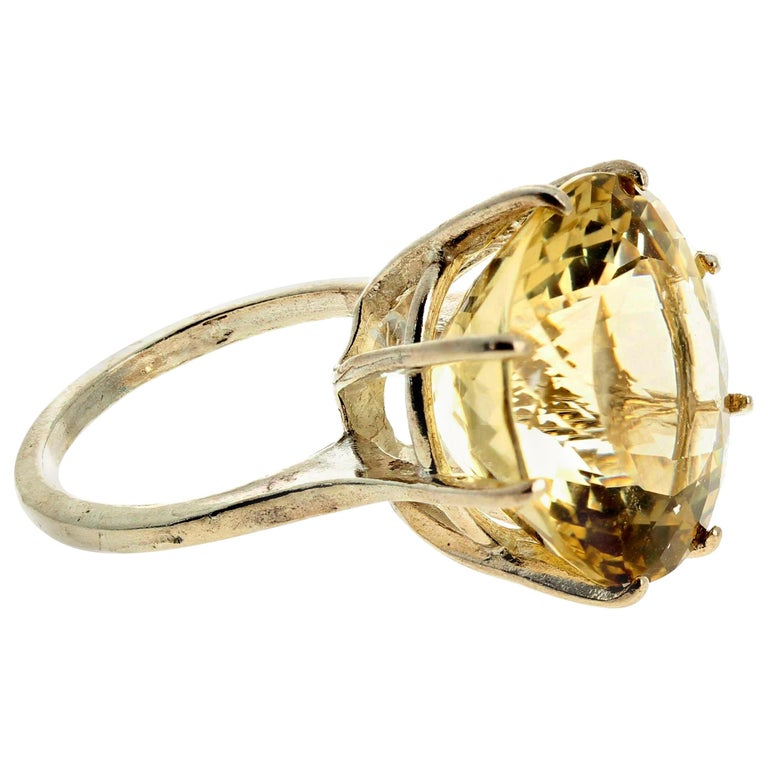 Huge Unique Yellow Labradorite Sterling Silver Ring For Sale