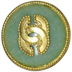 Vintage Chanel Green Agate gold-plated CC logo Brooch
