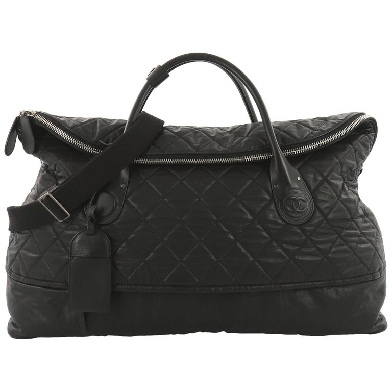 75db98cf5c48fb Chanel Horizontal Sport Weekender Bag Quilted Coated Canvas XL For Sale
