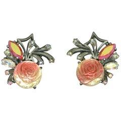 Schiaparelli 1950s Red glass Rose earrings