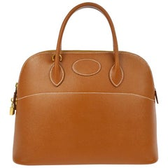 Hermes Cognac Tan Leather Large Top Handle Satchel Travel Shoulder Tote Bag