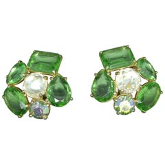 Schiaparelli 1950s green glass gold-tone earrings