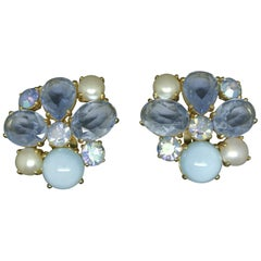 Schiaparelli 1950s blue glass gold-tone earrings