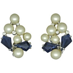 Schiaparelli 1950s blue glass faux pearl gold-tone earrings