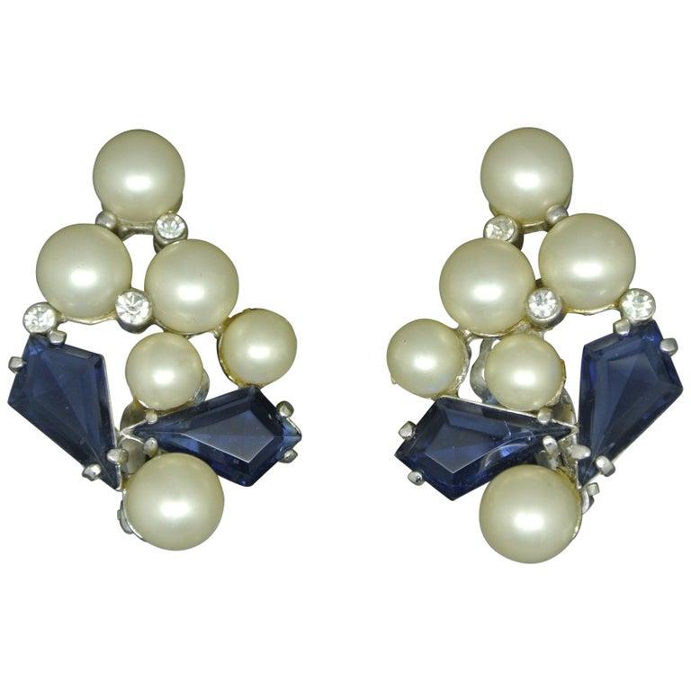 Schiaparelli 1950s blue glass faux pearl gold-tone earrings For Sale